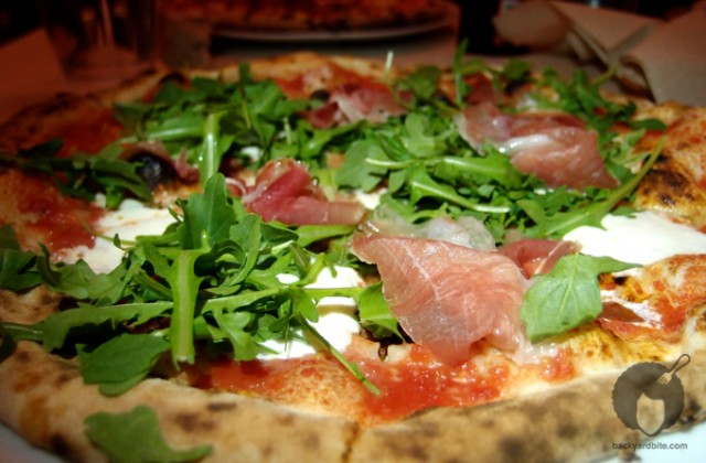 My prosciutto and arugula pizza creation!