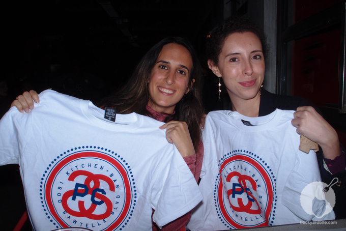 Screenwriter Liz Scully and CAA agent Elizabeth Newman show off their Stüssy designed Tees